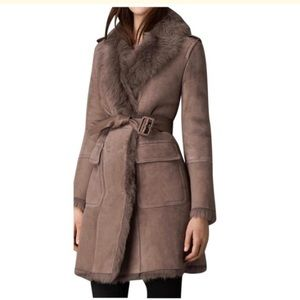 Burberry taupe shearling fur suede trench coat